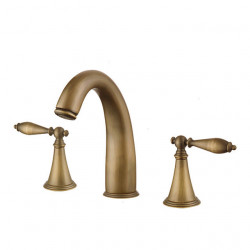 Two HandlesBathroomFaucet,Antique,Brushed ThreeHoles Widespread, Brass Contemporary Bathroom SinkFaucet Contain with...