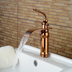 Contemporary Centerset Waterfall Ceramic Valve Single Handle One Hole Rose Gold,Bathroom Sink Faucet