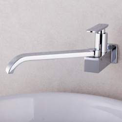 Bathroom Sink Faucet - Waterfall Chrome Widespread Single Handle One HoleBath Faucet