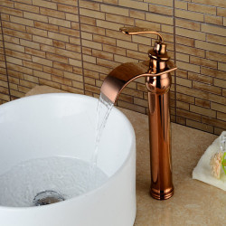 Vintage Waterfall Bathroom Sink Faucet - Cooper Rose Gold Centerset Single Handle One HoleBath Faucet,Brass