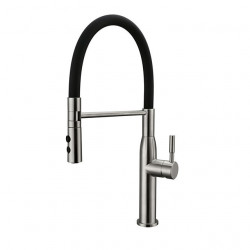 Single Handle Kitchen faucet Nickel Brushed Pull-out,Pull-down Swivel Spout Vessel Contemporary Kitchen Faucet