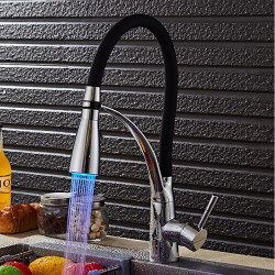 Kitchen faucet - Modern,Contemporary Chrome LED Light,Pull-out,Pull-down Vessel,Brass