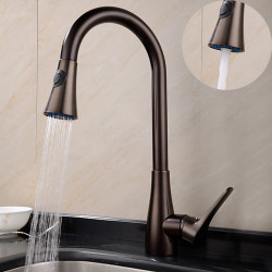 Kitchen faucet - One Hole Oil-rubbed Bronze Pull-out,Pull-down,Tall,High Arc Deck Mounted Traditional Kitchen...