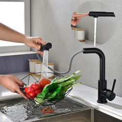 Kitchen Sink Faucet Black Single Handle One Hole Electroplated Pull-out,Pull-down Centerset Contemporary Kitchen Faucet with...