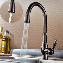 Kitchen faucet - One Hole Oil-rubbed Bronze multi-angle stretchable,High Arc Deck Mounted Traditional Kitchen...
