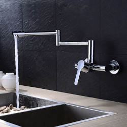 Kitchen faucet - Two Holes Chrome Pot Filler Wall Mounted Contemporary Kitchen Faucet,Brass,Single Handle Two Holes