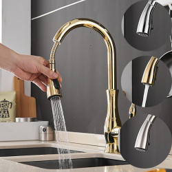 Single HandleKitchenFaucet,Nickel Brushed,ElectroplatedOneHole Widespread Pull Out,Tall,High Arc,Brass KitchenFaucet...