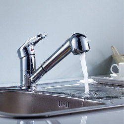 Kitchen faucet - Single Handle One Hole Chrome Pull-out,Pull-down Centerset Country Kitchen Faucet Solid Brass Commercial...