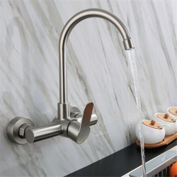 304 Stainless Steel Kitchen Faucet Wall-mounted,Centerset with Hot and Cold Water Single Handle Two Holes Wall Installation...