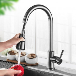 Kitchen faucet - Single Handle One Hole Electroplated Pull-out,Pull-down,Tall,High Arc Centerset Contemporary Kitchen Faucet
