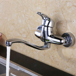 Kitchen faucet - Contemporary Chrome Bar,Prep Wall Mounted,Two Handles Two Holes