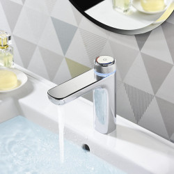Digital Bathroom Sink LED Faucet with Temperture Display Chrome,Brass Basin Faucet