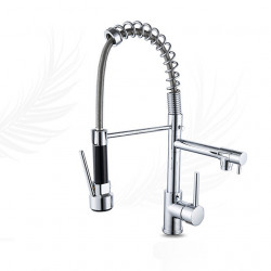 Kitchen faucet - Single Handle Two Holes Chrome Pull-out,Pull-down Widespread Contemporary Kitchen Faucet