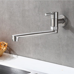 Kitchen faucet - Single Handle One Hole Stainless Steel Standard Spout Wall Mounted Contemporary Kitchen Faucet