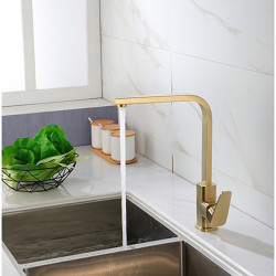 Kitchen faucet - Single Handle One Hole Golden Nickel Brushed 360° Rotateable Tall Contemporary Kitchen Faucet