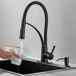 Kitchen faucet with Soap Dispenser - Single Handle One Hole Electroplated Pull-out ,Pull-down,Standard Spout ,Prep Deck Mounted...