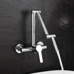 Kitchen faucet - Single Handle Two Holes Chrome Pot Filler Wall Mounted Contemporary Kitchen Faucet
