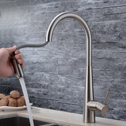 Single HandleKitchenFaucet,Brushed OneHole Pull Out Standard Spout,Spray,Centerset, Brasss Contemporary KitchenFaucet...