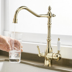 Kitchen faucet - Two Handles One Hole Electroplated Standard Spout Vessel,Brass