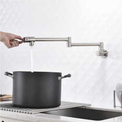 Kitchen faucet - Two Handles One Hole Nickel Brushed Pot Filler Centerset Contemporary Kitchen Faucet