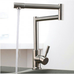 Kitchen faucet - One Hole Nickel Brushed Pot Filler Deck Mounted Art Deco,Retro Kitchen Faucet,Single Handle One Hole