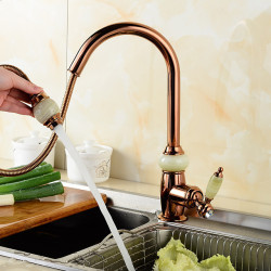 Kitchen faucet - Single Handle One Hole Electroplated Pull-out,Pull-down,Tall,High Arc Centerset Contemporary Kitchen Faucet...