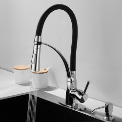Kitchen Faucet with Soap Dispenser Single Handle One Hole Electroplated Pull-out,Pull-down,Tall,High Arc,Bar,&shy,Prep Deck...
