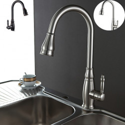 Kitchen faucet - Single Handle One Hole Oil-rubbed Bronze Pull-out,Pull-down,Tall,High Arc Centerset Antique Kitchen Faucet