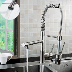Single Handle Kitchen Faucet - One Hole Chrome Finish Solid Brass Pull-down Swivel Spout Kitchen Sink Faucet,Single Handle One...