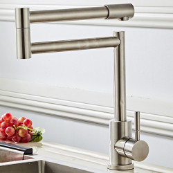 Kitchen faucet -Foldable,Rotatable Single Handle One Hole Nickel Brushed Standard Spout,Pot Filler Free Standing Contemporary...
