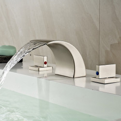 Bathroom Sink Faucet - Waterfall Nickel Brushed Widespread Two Handles Three Holes Bath Faucet,Brass