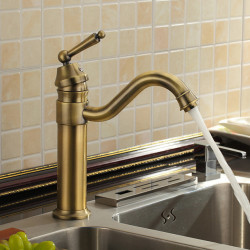 Kitchen faucet - One Hole Antique Brass Bar,Prep Deck Mounted Antique Kitchen Faucet,Single Handle One Hole