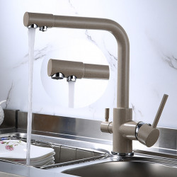 Kitchen faucet - Two Handles One Hole Electroplated Standard Spout Centerset Contemporary Kitchen Faucet