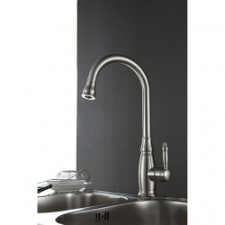 Traditional Nickel Brushed Finish One Hole Single Handle Deck Mounted Rotatable Brass Kitchen Faucet