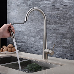 Watermark Certificate, Single Handle Kitchen Faucet, Brushed Nickel One Hole Pull Out,Widespread, Brasss Kitchen Sink Faucet...