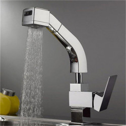 Kitchen faucet - Single Handle One Hole Chrome Pull-out,Pull-down Deck Mounted Contemporary Kitchen Faucet,Brass