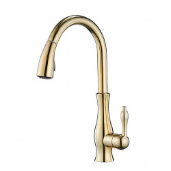 Single Handle One Hole Electroplated Pull-out,Pull-down Vessel,Brass Kitchen Faucet Faucet High Arc