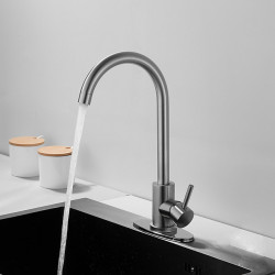 Single HandleKitchen Faucet,Nickel BrushedOne Hole LED,Rotatable,Tall,High Arc,Bar,Prep, Stainless Steel Deck Mounted...