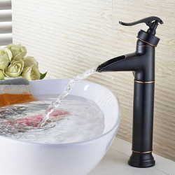 Bathroom Sink Faucet - Waterfall Painted Finishes Centerset Single Handle One HoleBath Faucet with Two 60CM Water Hose Supply Line