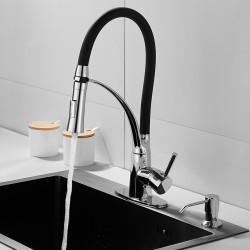 Single HandleKitchen Faucet,Electroplated One Hole Pull Out,Rotatable,Bar,Prep,Multi-function Standard Spout, BrassDeck...