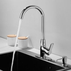 Kitchen faucet - Single Handle One Hole Electroplated Standard Spout Centerset Contemporary Kitchen Faucet with Soap Dispenser
