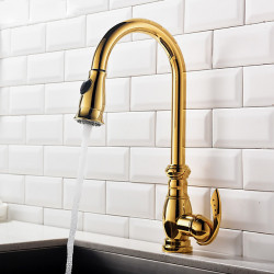 Kitchen faucet - Single Handle One Hole Ti-PVD Pull-out,Pull-down,Tall,High Arc Centerset Contemporary Kitchen Faucet,Brass