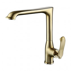 Single Handle One Hole Brushed Gold Standard Spout Centerset Contemporary Kitchen Faucet