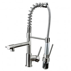 Kitchen Faucets - Contemporary Brushed Centerset,Pull out,LED One Hole,Brass,Ceramic Valve,Zinc Alloy,Brass