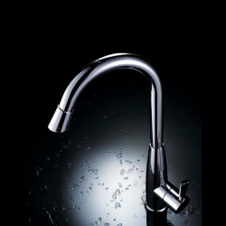 Contemporary Chrome Finish One Hole Single Handle Deck Mounted Rotatable Brass Kitchen Faucet