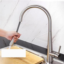 Kitchen faucet - Single Handle One Hole Nickel Brushed Pull-out,Pull-down,Tall,High Arc Deck Mounted Antique Kitchen...