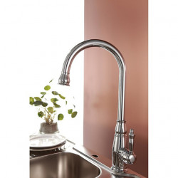 Traditional Chrome Finish One Hole Single Handle Deck Mounted Rotatable Brass Kitchen Faucet
