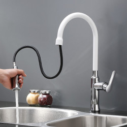 Kitchen faucet - Single Handle One Hole Painted Finishes Pull-out,Pull-down,Tall,High Arc Deck Mounted Contemporary Kitchen...