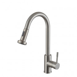 Kitchen faucet - Single Handle One Hole Nickel Brushed Pull-out,Pull-down,Tall,High Arc Centerset Contemporary Kitchen...