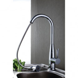Contemporary Pull-out,Pull-down Deck Mounted Pullout Spray with Ceramic Valve Single Handle One Hole for Chrome,Kitchen faucet